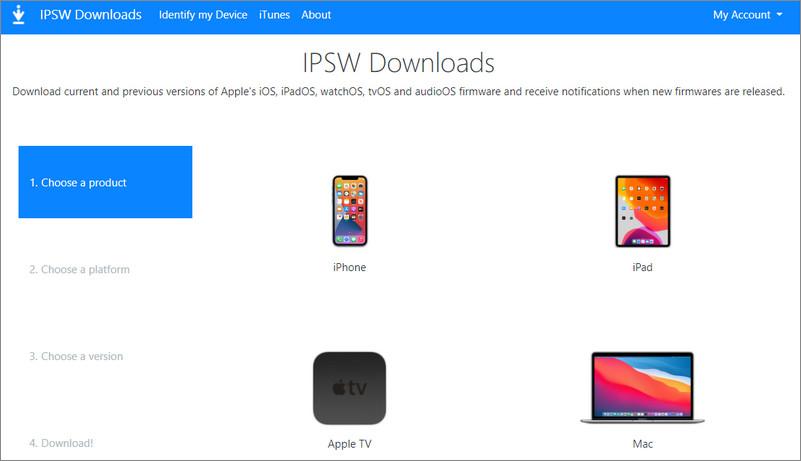 iOS 14のIPSWファイルをダウンロード