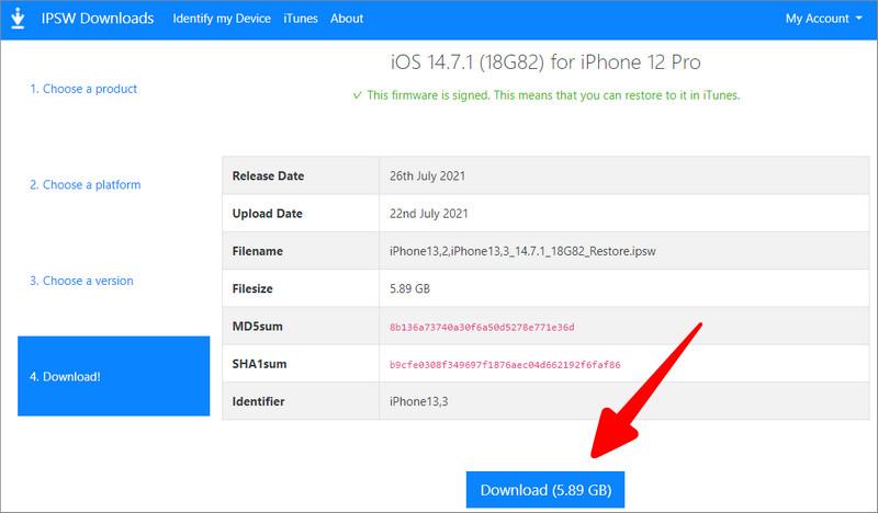 iOS 14 IPSWファイルをダウンロード